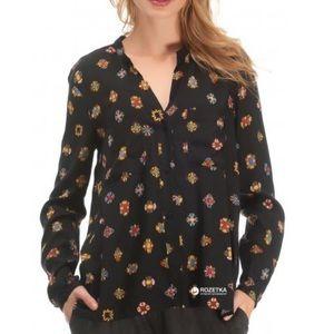 Zara Jewel Print Button Down Long Sleeve Top NWOT